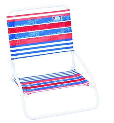 RIO Beach Wave 1-Position Beach Folding Sand Chair - Red, White, Blue Stripes (Kids Wave Chair)