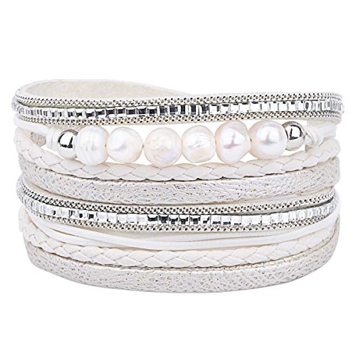 wrap Bracelets Boho Multilayer Cuff Bracelet Handmade Wristband Braided Rope Cuff Bangle with Alloy Magnetic Clasp Jewelry for Women Teen Girl Gift (Pearl Multilayer-White) (Leather Braided White Bracelet)
