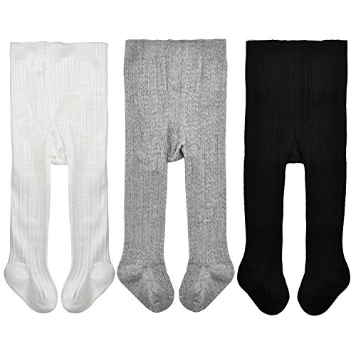 Girls Seamless Cable Knit Solid Cotton Tights for 6-12 Months,White/Black/Grey (Pack of 3) (Knit Leggings Tights)