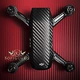 SopiGuard Black Carbon Fiber Precision Edge-to-Edge Coverage Vinyl Sticker Skin Controller 3 x Battery Wraps for DJI Spark