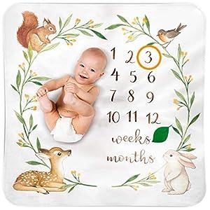 Bubzi Co Baby Monthly Milestone Blanket   Watch Me Grow Woodland Nursery Décor   European Design 120cmx120cm   Gender Neutral Best Shower Gift for Newborn Girl & Boy   Photoshoot Background Prop 51ERAWW oEL