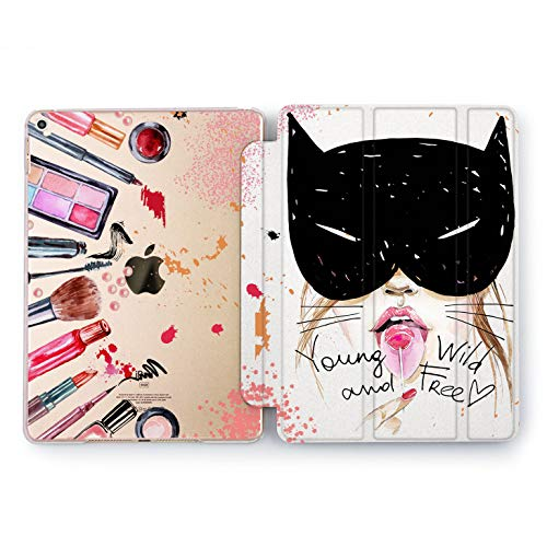 Wonder Wild Wild & Free Print Case IPad 9.7 2017 A1822 A1823 2018 A1893 A1954 Air 2 A1566 A1567 6th Gen Clear Design Smart Hard Cover Skin Texture Watercolor Young Cat Woman Mask Girly Bright Brush -