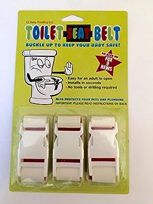 "Toilet Lock - (3 Pack) -""Toilet-Seat-Belt""- Baby Toilet Lock- With ""EZ Baby Proofing"" Book"