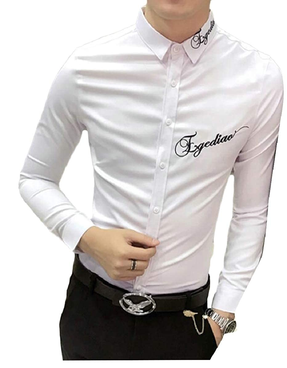FLCH+YIGE Men Long Sleeve Shirt Letter Embroidery Slim Fit Casual Button Down Shirt