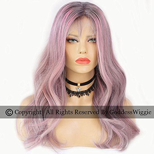 Balayage Human Hair Lace Front Wigs Glueless Pink Remy Hair Body Wavy Wig For Black Women (20inch 150density) by Goddess