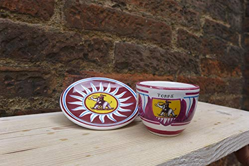 Coffee set with the decoration of the 17 districts of the Palio di Siena. Plate and cup.