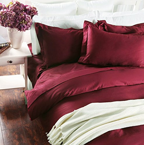 Sateen Weave Silky Soft Breathable Pima Quality Bed Linen (King, Burgundy)