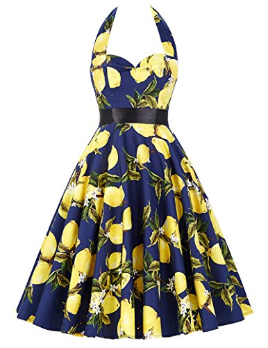 Women's Halterneck Summer Dresses Party Cocktail Yellow Lemon Floral Size M