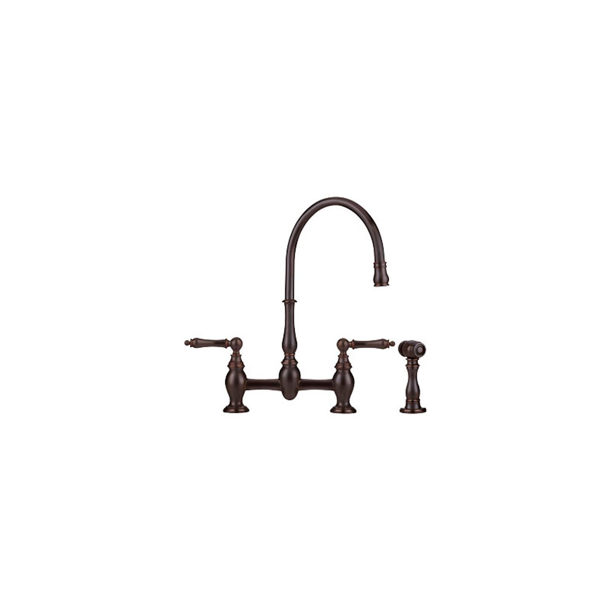 Franke FF6060a Two-Handle Bridge-Style Kitchen Faucet with Traditional Handles and Side Spray, Old World Bronze