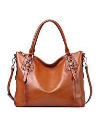 Kattee Vintage Genuine Soft Leather Large Tote Shoulder Bag