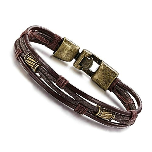 Onefeart Leather Bracelet Men Braided Rope,Retro Style, Leather Bronze Alloy Buckle 1x21.5CM