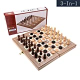 3-in-1 Wooden Folding Chess Board Game with Dice Travel Chess Set for Kids