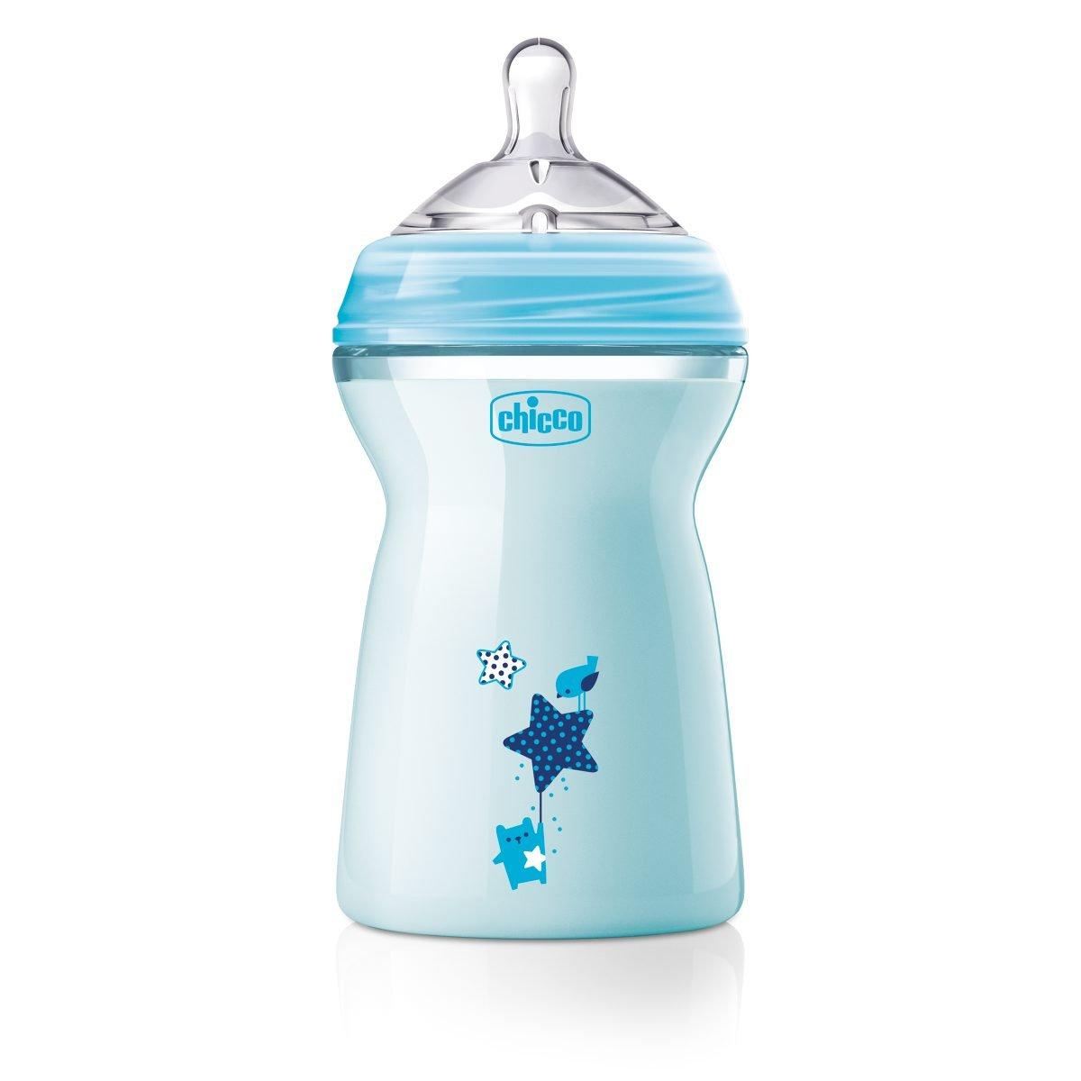 330 ml flujo r/ápido Biber/ón con tetina especial para lactancia mixta 6 m+ Chicco NaturalFeeling azul