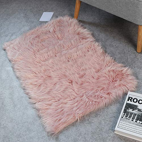 HAOCOO Faux Fur Sheepskin Rug Fuzzy Fluffy Rectangle Pink Area Rugs 2' x 3'Kids Carpet for Bedroom Living Room Floor Or Across Your Armchair Sofa Couch (Sofa Over Mirror)