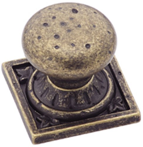 Amerock BP4484R2 Ambrosia Euro Stone Square Knob, Weathered Brass, 1-1/4-Inch (Weathered Amerock Brass)