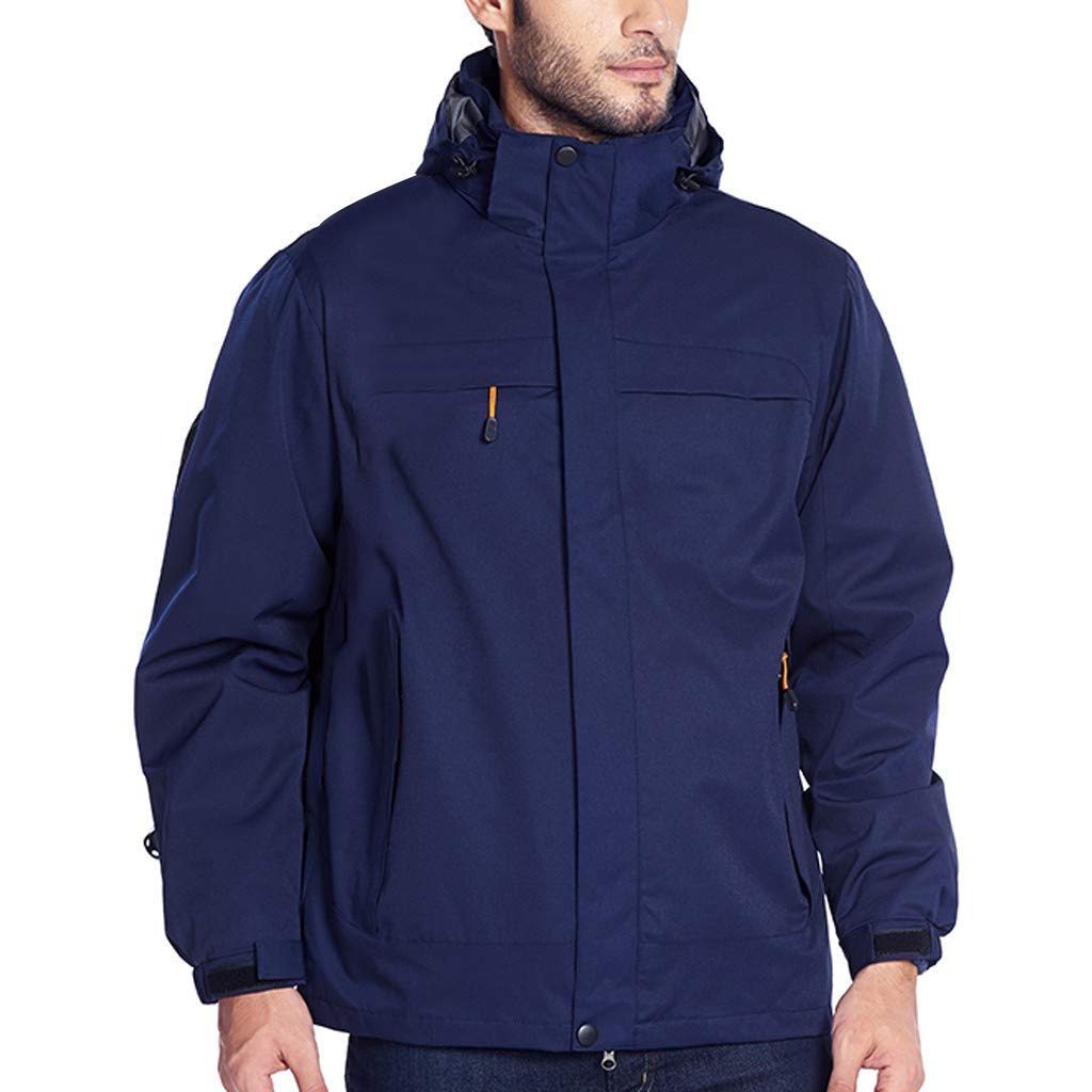 Allywit-Mens Casual Fashion Waterproof Quick-Drying Breathable Shell Jacket Hunting Hiking Jacket Warm Outerwear Dark Blue by Allywit-Mens