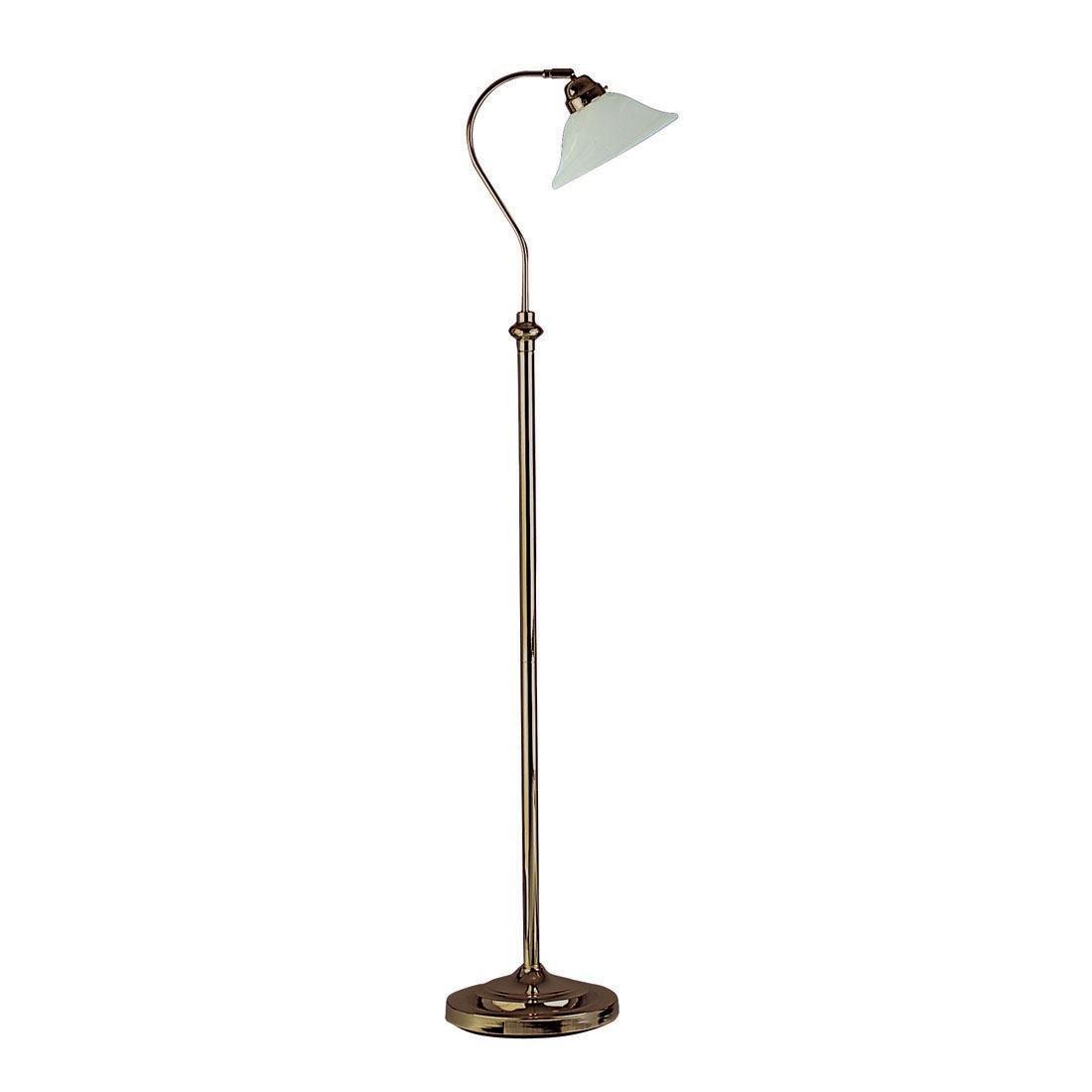 Lámpara de pie de latón envejecido con pantalla de cristal ...
