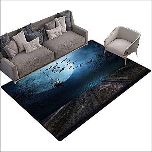 Bath Rug Halloween Misty Lake Scene Rusty Wooden Deck Spider Eyeball and Bats with Ominous Skyline Non-Slip Backing W78 xL118 Blue Brown -