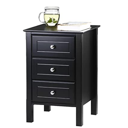Amazon.com: Yaheetech Black Gloss 3 Drawers Bedside Table Cabinet Stylish  Nightstands With Silver Handle Bedroom Furniture: Kitchen U0026 Dining
