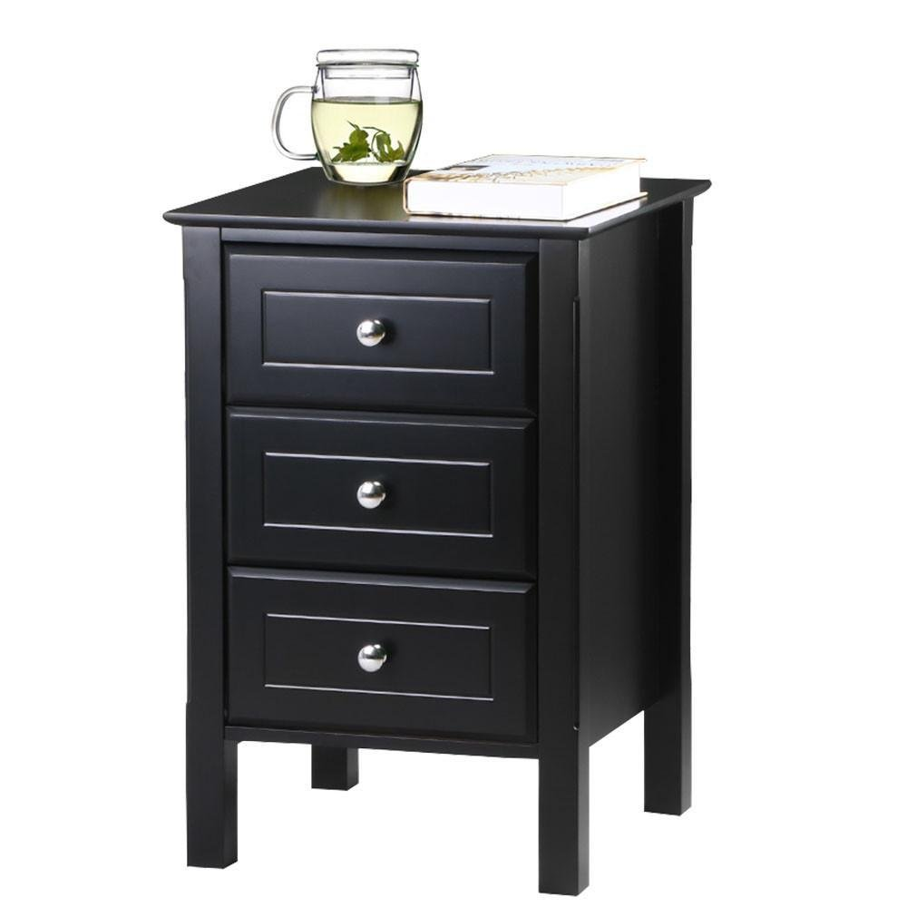 Yaheetech Black Gloss 3 Drawers Bedside Table Cabinet Stylish Nightstands Silver Handle Bedroom Furniture