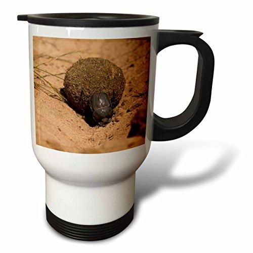 Zimbabwe Mug - 3dRose Zimbabwe Dung Beetle Rolling Dung Ball-Michele Westmorland, Stainless Steel Travel Mug, 14-Oz