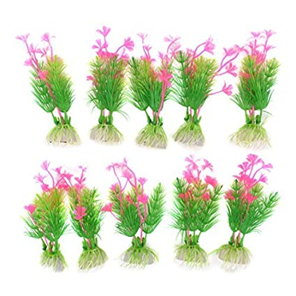 eDealMax Acuario de plástico planta de agua DE 4.1 pulgadas 10pcs rosa Verde