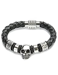 UTOVME Fashion Genuine Leather Stainless Steel Skull Magnetic Clasp Bracelet Link 8.5""