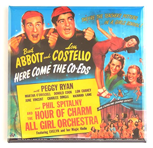 Abbott and Costello: Here Come the Co-Eds Movie Poster Fridge Magnet (3 x 3 inches)