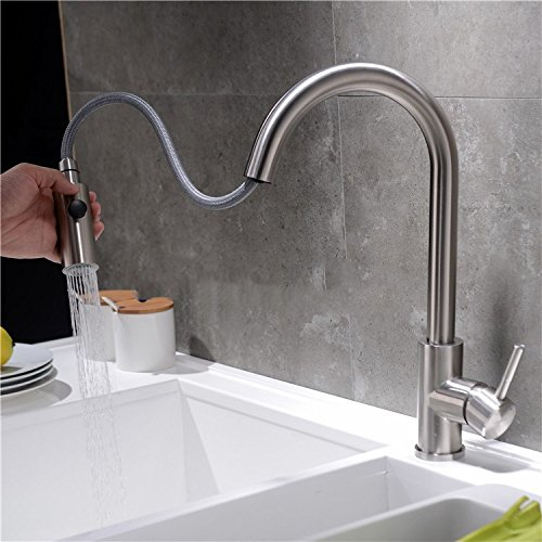 Bijjaladeva Antique Bathroom Sink Vessel Faucet Basin Mixer Tap Kitchen Faucet Pull Stainless Steel faucet retractable swivel brushed cold water slot cuisine basin mixer