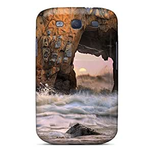 Tpu Case Cover Compatible For Galaxy S3/ Hot Case/ Sun Thru The Rocks On The Beach