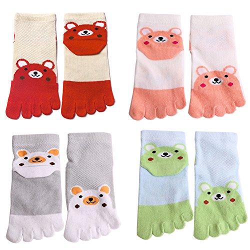 4 Pairs Cute Cotton Kids Toe Socks Ankle Crew Socks for 5-11 Years Old Children (4 (Childrens Toe Socks)