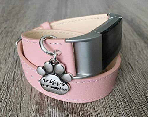 Double Wrap Pink Vegan Leather Bracelet For Fitbit Charge 2 Fitness Wristband Tracker Replacement Band With Silver You Left Paw Prints On My Heart Sentimental Pet Keepsake Charm ()