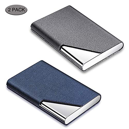 Business Card Holder, DMFLY 2 Pack Business Card Case - Luxury PU Leather & Stainless Steel Metal Business Card Holder Wallet Credit Card Case/Holder for Women and Men, Magnetic Shut Style (DM-GB01) (Mens Business Card)