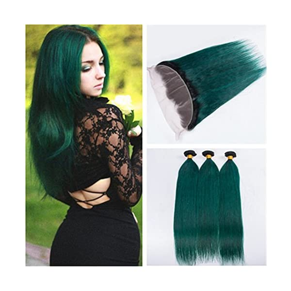 Tony Beauty Hair Dark Green Ombre Brazilian Virgin Human Hair 3