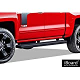 "iBoard Running Boards 5"" Black Custom Fit 2007-2018 Chevy Silverado / GMC Sierra Crew Cab (Nerf Bars   Side Steps   Side Bars)"