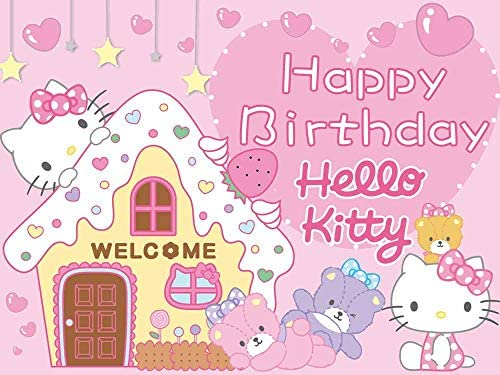 Hello Kitty Backdrop Party Supplies Kids Girl Photo Background Hot Pink Birthday Banner for Dessert Top Decoration