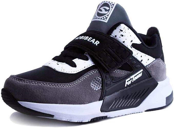 HAP JUMP Sneakers Enfant Baskets Montantes Garcon Chaussure de Course Mode Garcon Fille Sport Running Shoes Competition Entrainement Noir blanc 33