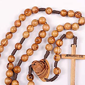 Amazon Com Large Wood Rosary Beads Holy Land Olive Wood
