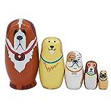 Set of 5 Cute Dog Animal Pattern Russian Nesting Dolls Matryoshka Dolls for Kids Toys Birthday Gift Home Decoration