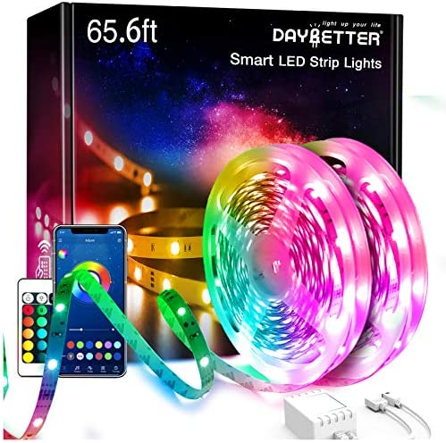 65.6ft Daybetter Smart App Led Lights,2 Rolls of 32.8ft Led Strip Lights Kits with Remote, App Control Timer Schedule Led Music Strip Lights,Color Changing Sync Led Lights for Bedroom