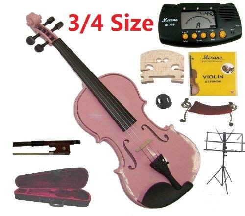 Merano 3/4 Size Pink Violin with Case and Bow+Extra Set of String, Extra Bridge, Shoulder Rest, Rosin, Metro Tuner, Music Stand, Mute