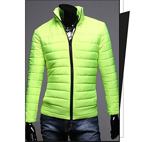 Aderente Fluorescente Per Verde Caldo Bozevon Di Giovani Da Slim Giacca Cappotto Cotone Uomo Fit 4xxOq87Hvw