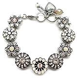 Mariana Swarovski Crystal Silver Plated Bracelet Peach White Mosaic Statement 1078 Kalahari ...