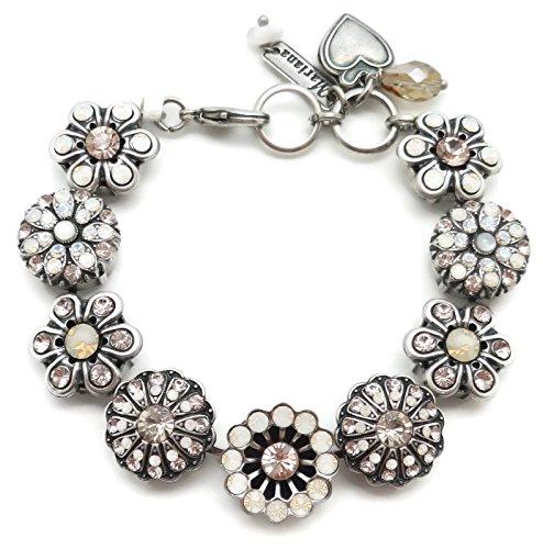 Mariana Swarovski Crystal Silver Plated Bracelet Peach White Mosaic Statement 1078 Kalahari ... by Mariana
