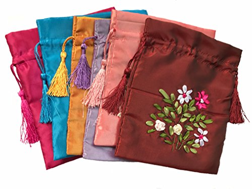 Askana Large Jewelry Pouch Bags, Drawstring Coin Purses, Gift Bags - 3 Bags of Assorted colors