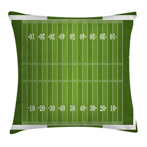"""Ambesonne Football Throw Pillow Cushion Cover, Sports Field in Green Gridiron Yard Competitive Games College Teamwork Superbowl, Decorative Square Accent Pillow Case, 20"""" X 20"""", White Green"""