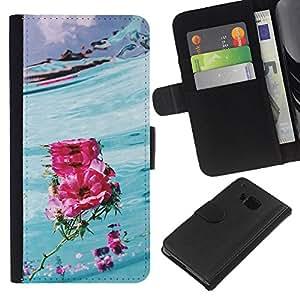 All Phone Most Case / Oferta Especial Cáscara Funda de cuero Monedero Cubierta de proteccion Caso / Wallet Case for HTC One M7 // Hawaii Flower Love Surf Blue Pink