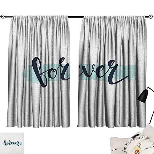 Beihai1Sun Romantic Bedroom Darkening Curtains Forever Calligraphic Inscription on Pale Blue Modern Brush Stroke Artsy Curtain Door Panel Seafoam Black White W55 x L39