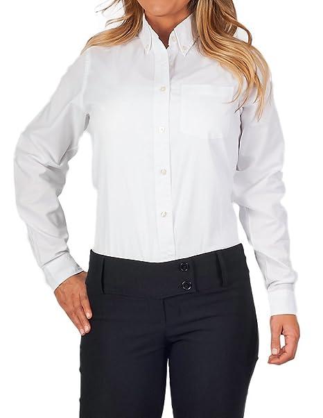 KNG Womens Longer Tail Long Sleeve Oxford Shirt, White, S