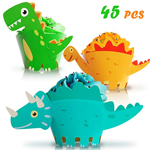 Moon Boat Dinosaur Cupcake Wrappers Toppers Party Supplies Birthday Dino Cake Decorations Jurassic - T-Rex/Triceratops/Spinosaurus 45 PCS ()